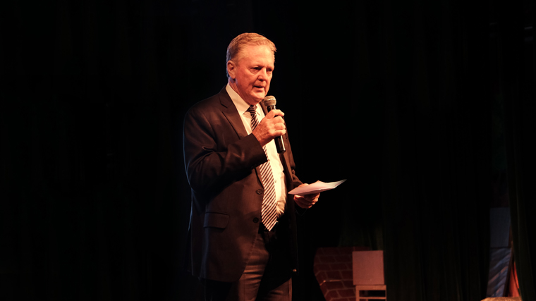 Peter Baker, Education Director giving the opening speech at A Bullet for My Valentine musical show